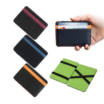 2016 New Brand men's leather magic wallet money clips casual clutch bus card bag for women 10*7*0.8cm man purse