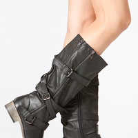 Bamboo Black Strappy Buckle Up Faux Leather Boots
