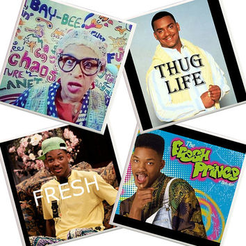 Fresh Prince of Bel-Air Coasters, 90's Tv show, funny quotes, Will Smith, Carlton Banks, Thug Life, West Philadelphia, Fresh Prince stuff