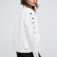 Boohoo Lace Up Denim Jacket at asos.com