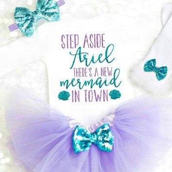 Newborn Baby Girls Cotton Mermaid Top Romper Jumpsuit Skirt Outfit Clothes Canis