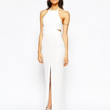 Solace London Pam Maxi Dress With High Neck And Cut Out Back