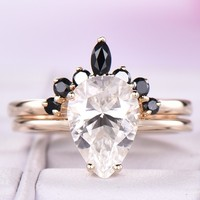 Pear Moissanite Engagement Ring Sets Black Carnelian Band 14K Yellow Gold 7x10mm