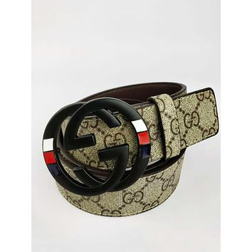 GUCCI 2018 new trend classic print smooth buckle fashion casual belt black