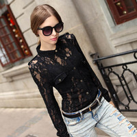 Apricot Lace Sheer Long Sleeve Blouse