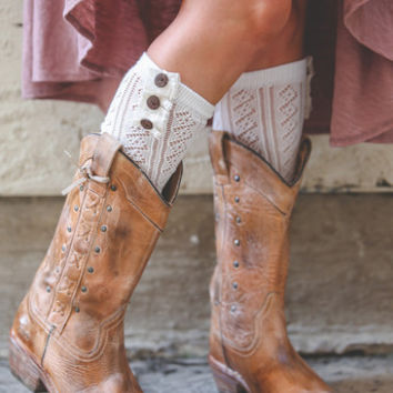 Open Knit Lace Boot Socks-Wooden Buttons