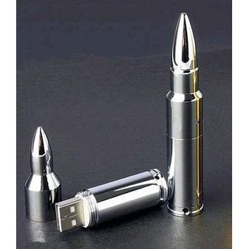 Silver 8gb 16gb 32gb Metal Bullet Shape Model USB 2.0 Memory Flash Stick Pen Drive