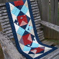 Patriotic Table Runner Red White Blue Stars Memorial Day Quilted Handmade