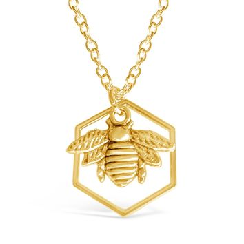 Honeycomb With Queen Bumble Bee Necklace