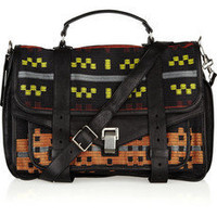 Proenza Schouler|PS1 Large leather and jacquard satchel|NET-A-PORTER.COM