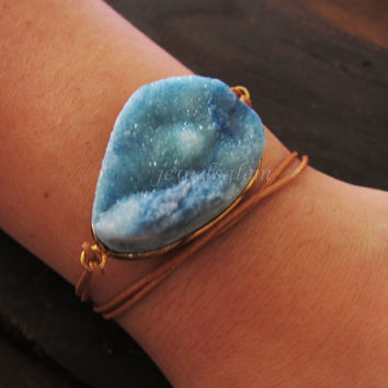 Druzy Bracelet Brown Leather Blue Geode Necklace Gold Rough Gem Stone Modern Raw Natural Rustic Simple Statement Chunky Crystal C1