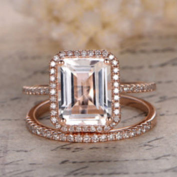 5x7mm Emerald Cut WHITE Topaz Engagement Ring,14K Yellow Gold,Diamond Halo,Topaz Ring,Ball Prongs, Blue Topaz,Emerald,Moissanite Available