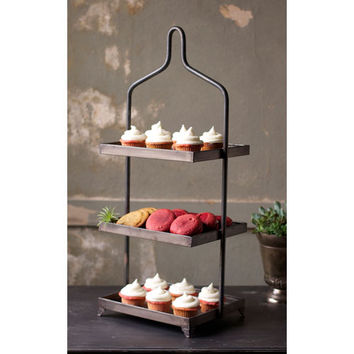 Kalalou CLL1014 Square Metal Three Tiered Display