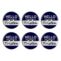 Tristen Hello My Name Is Plastic Resin Button Set of 6