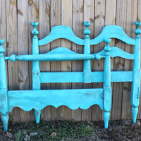 Turquoise Vintage Twin Bed/ Headboard/ Foot Board/  Distressed/ Beach Cottage/ Shabby Chic