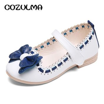 COZULMA 2017 Spring Summer Child Girls Sandals Kids Girls Bow Tie  Leather Shoes Princess Girls Shoes Kids Leather Flats