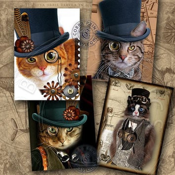 "Steampunk Cat - 2.5""x3.5"" cards - Digital Collage Sheet CP-198 for ATC ACEO Jewelry Holders, Scrapbooking, Cards, Tags - Instant Download"