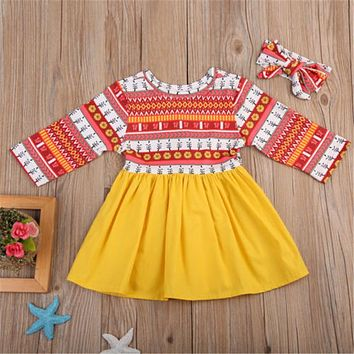 Baby Girls Toddler Floral Sleeveless Dress Long Sleeve O-Neck Princess Party Vintage Dresses 0-24M
