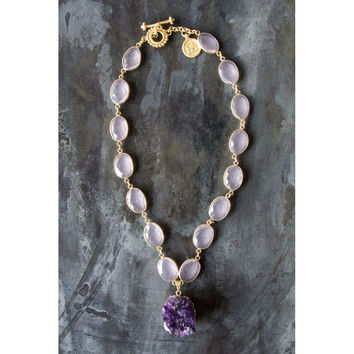 Posy Pink Calcy Gold Necklace with Amethyst Druzy