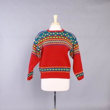 90s POLO SWEATER / 1990s Ralph Lauren Thick Wool Women's Fair Isle Pullover M