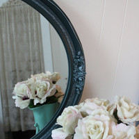 Large Oval Wall Mirror - Dark Teal Mirror - Embossed Border - Decorative Wall Mirror - Vintage Oval Mirror - Hand Painted Mirror