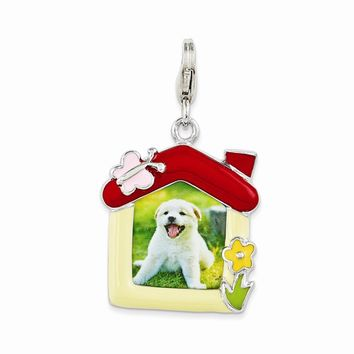 Sterling Silver Enameled Pet Picture Frame w/Lobster Claw Clasp Charm