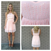 Pink Sequin & Bead Sweetheart Dress