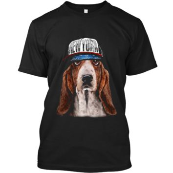 Rapper Basset Hound Dog in Hip Hop Hat New York Custom Ultra Cotton