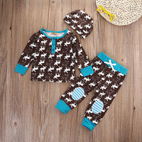 Newborn Infant Baby Girls Boy Deer Tops T-shirt Long Pants Hat 3pcs Outfits Set