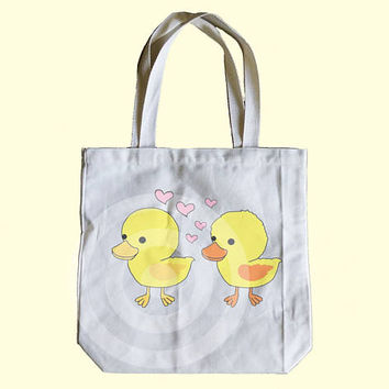 Duck tote bag 13x13x3 inches - Shopping tote bag - Children tote bag - Book tote bag