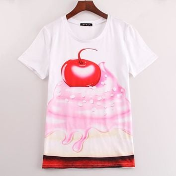 2016 fashion new t shirt women Cherry & Cake printed t-shirt women tees tops summer short sleeve causal Sakura clothng