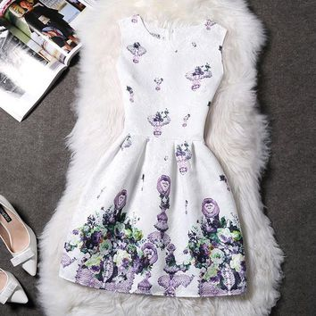 White and Lavender Floral Sleeveless Summer Dress