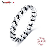 LZESHINE Rings New Year Gift 100% 925 Sterling Silver Jewelry Star Shape Finger Ring for Women Wedding  PSRI0008-B