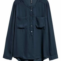 Crêpe blouse - Dark blue - Ladies | H&M GB