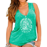 Michigan State Spartans Original Retro Brand Womens Relaxed Henley Tank Top – Forest Green