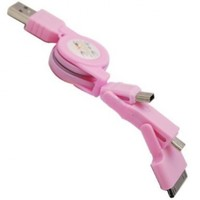 ELONGPRO 3in1 USB Retractable Sync Charge Cable for Mini /Micro USB / iPhone 4 4S iPod Pink A3K