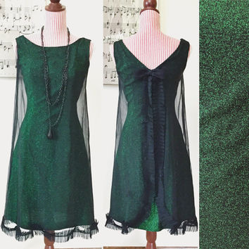 1960s Dress / VINTAGE / 60s Dress / Green / Glittery / Black Chiffon / RARE