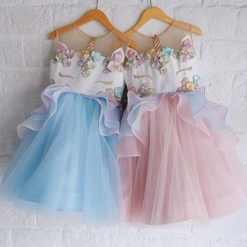 Toddler Flower Dress for Girls Kids Unicorn Ball Gown Robe Fille Cosplay Princess Embroidery Beading Clothes for Wedding Party