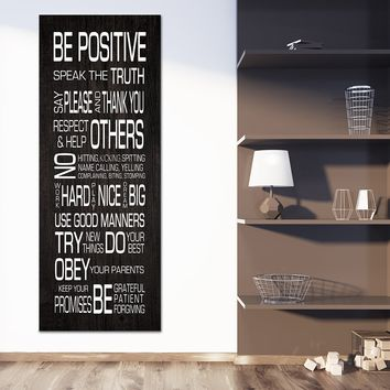 Family Rules Wall Art Be Positive Speak The Truth Framed Canvas Wall Art