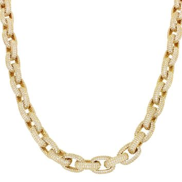 """14k Gold Finish Iced Out Hermes Rolo Link 18-24"""" Necklace"""