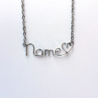 Personalized Wire Name Necklace with Heart Silver Gold Copper
