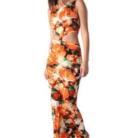 Orange floral print maxi dress with knot detail to front