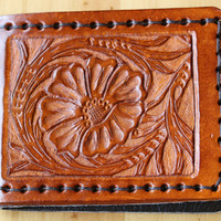 Sheridan Style Hand Carved Leather Wallet, Hand Tooled Leather Billfold,Hand Stitched Bifold Wallet,Floral Carved Leather Credit Card Wallet