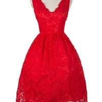 Red Square Neck Crochet Lace Homecoming Dress