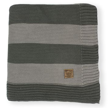 Granite Grey & Slate Grey Stripe Knit Organic Cotton Blanket