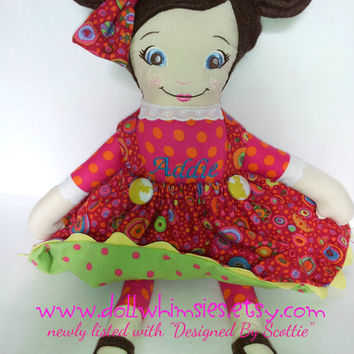 Hand Made Cloth Doll, Cloth Doll, Personalized Doll, Custom Doll, Rag Doll, Christmas Toy, Child Friendly Toy, Baby Doll, First Doll