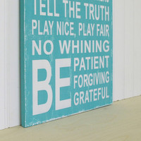 Family Rules Sign in Aqua Turquoise Vintage by SignsofVintage