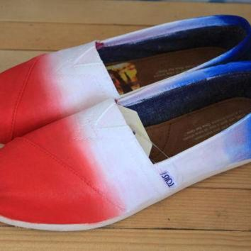 Fourth of July Ombre Hand Painted TOMS, VANS Canvas Shoes