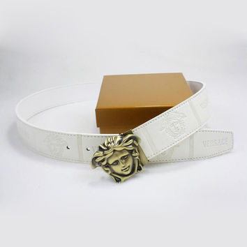 Perfect VERSACE Woman Fashion Smooth Buckle Belt Leather Belt
