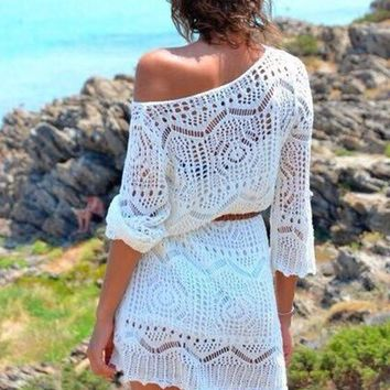 White Plain Hollow-out 3/4 Sleeve Knit Beach Party Lace Dress